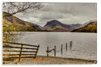 Fence Line into Buttermere Lake, Acrylic Print
