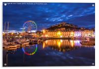 Torquay Harbour by Night, Acrylic Print