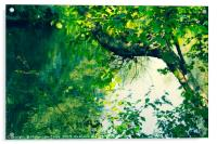 Beautiful tree branches over water in Summertime, Acrylic Print