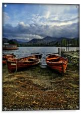 """Evening light on the boats at Derwentwater"", Acrylic Print"