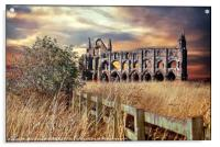 """breezy sunset at Whitby Abbey"", Acrylic Print"
