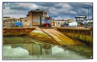 """Stormy skies at the boat yard"", Acrylic Print"