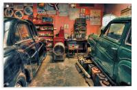 Vintage cars in a garage for repair, Acrylic Print