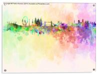 London skyline in watercolor background, Acrylic Print