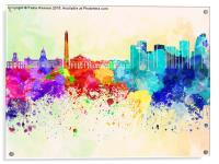 Buenos Aires skyline in watercolor background, Acrylic Print