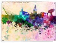 Seville skyline in watercolor background, Acrylic Print