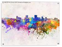 Anchorage skyline in watercolor background, Acrylic Print