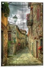 Tuscany Medieval Alleyway , Acrylic Print
