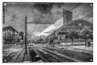 Manchester Morning Tram (Black and White), Acrylic Print