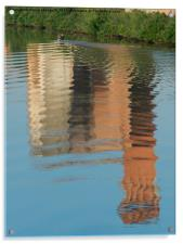 """Pisa, the tower of Cittadella """"rippled"""" by a cano, Acrylic Print"""