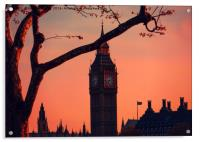 sunset over Big Ben and houses of parliment London, Acrylic Print