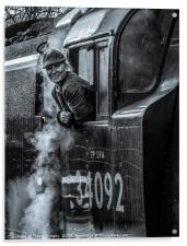 On the footplate of 'Wells', Acrylic Print