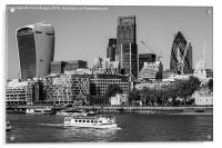 London City Skyline with The River Thames, Acrylic Print