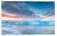 Sunrise Over The Kangia Icefjord In Greenland, Acrylic Print