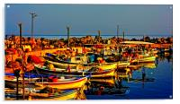 Small fishing boats in harbour, Acrylic Print