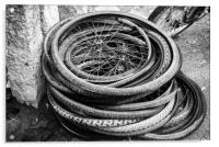 old bicycle tires and wheels, Acrylic Print