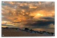Lancing Beach with dramatic clouds, Acrylic Print