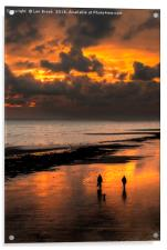Sunset walkers on Worthing Beach, Acrylic Print