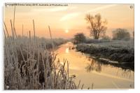 Henfield, West Sussex,  Frosty sunrise over river, Acrylic Print