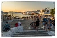 Mykonos charm in the evening, Acrylic Print