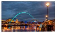 Beautiful bridges and quayside at night, Acrylic Print