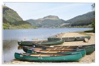 canoes on the shore of Loch Lubnaig,  the Highland, Acrylic Print