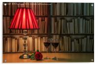 Table lamp and rose, Acrylic Print