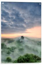 Misty Morning at Corfe Castle, Acrylic Print