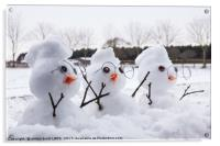 Three cute snowman characters with mohicans, Acrylic Print