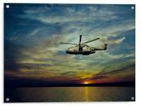 AW101 merlin helicopter over the sea , Acrylic Print