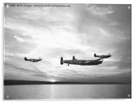 Lancaster bomber and spitfires, Acrylic Print