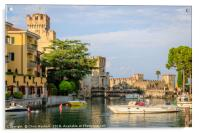 Sirmione on Lake Garda - castle and harbour, Acrylic Print