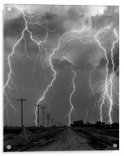 Lightning storm over Nebraska. , Acrylic Print