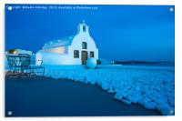 Whitewashed church in Oia at dusk., Acrylic Print
