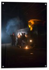 Group of railway workers around steam locomotive a, Acrylic Print