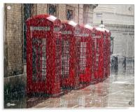 London Telephone Boxes, Acrylic Print