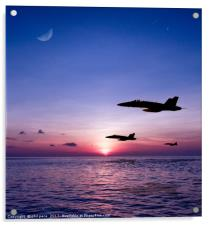 Fighters at sunset, Acrylic Print