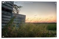 Sunset Behind Old Wooden Crates, Acrylic Print