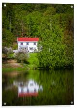 Reflections of a white house on a small lake in Op, Acrylic Print