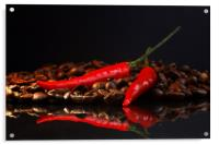Black coffee and red chili in contrast , Acrylic Print
