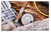 Vintage fly fishing outfit and gear on rocks and w, Acrylic Print