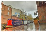 Canal Boat at the Waters Edge  Brindley Place, Acrylic Print