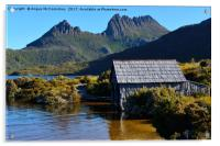 Boat shed with backdrop of Cradle Mountain, Acrylic Print
