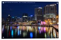 Darling Harbour by night, Acrylic Print