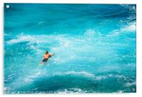 Surfers at the famous Hookipa Beach in the North s, Acrylic Print