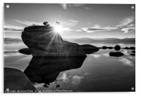 Dramatic view of Bonsai Rock in Lake Tahoe., Acrylic Print