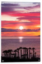 Sunset and silhouettes of the coast of Tenerife, Acrylic Print