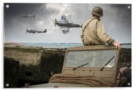 American GI on Normandy beach watches Spitfires, Acrylic Print