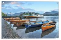 Derwentwater boats at sunrise, Lake District, Acrylic Print