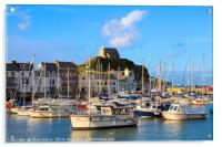 Ilfracombe harbour and St Nicholas Chapel in Devon, Acrylic Print